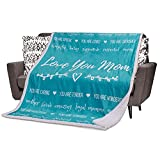 Mom Blanket Mom Gifts for Birthday - from Daughter, Son. Mom Fleece Throw Blankets. Sentimental, Meaningful Presents for Moms with Loving Words and Sayings (Teal, Sherpa)