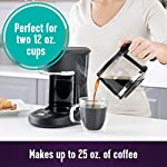 Mr. Coffee 5 Cup Programmable 25 oz. Mini, Brew Now or Later, with Water Filtration and Nylon Reusable Filter, Coffee… 10 Compact design that fits nicely into small spaces Brew later feature allows you to set your coffeemaker ahead and wake up to fresh brewed coffee Ergonomic carafe designed for easy pouring and handling with ounces markings for better measuring