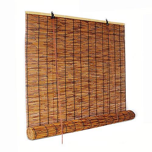 XYNH Holzrollo für Fenster - Sichtschutz Rollo,Innen- und Außenbeschattung,um kühl zu bleiben,Bambusrollo Raffrollo Für Küche,Terrasse,Pavillon