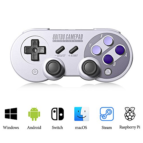 MOSTO SF30 Pro Game Controller Wireless Bluetooth Gamepad 6-Axis Retro Design Gamepad For Android Phone/Tablet/PC/Steam/Nintendo Switch (Purple)