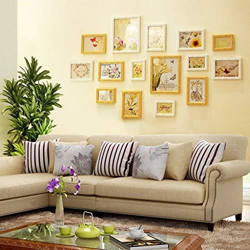 Jjek Creatieve fotomuur, fotolijst fotomuur, 165x80cm Europese retro stijl wandklok, puur gesneden houten frame set(15pc) D