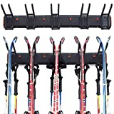 Homeon Wheels Ski Wall Storage Rack, Tools Storage Rack Wall Mount, Ski Wall Rack for Skies, Ski Poles and Kids Snowboards, Ski Rack for Garage Wall Holds up to 5 Pairs-Max 300Ibs