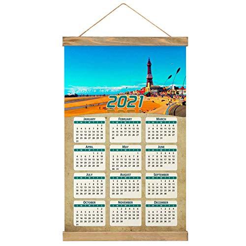 Reino Unido Inglaterra La torre de Blackpool Imprimir Póster Calendario de Pared 2021 12 Meses Pintura decorativa Cuadros Colgantes Lienzo Madera 20.4 'x 13.1' GL-UK-6092