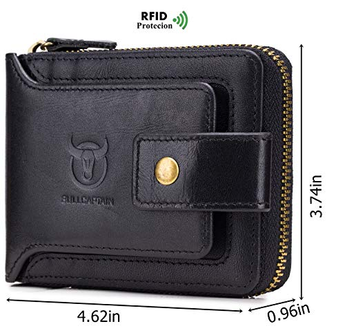 BULLCAPTAIN Men Zipper Around Wallet Genuine Leather RFID Blocking Bifold Large Capacity Coin Purse with ID Window 2