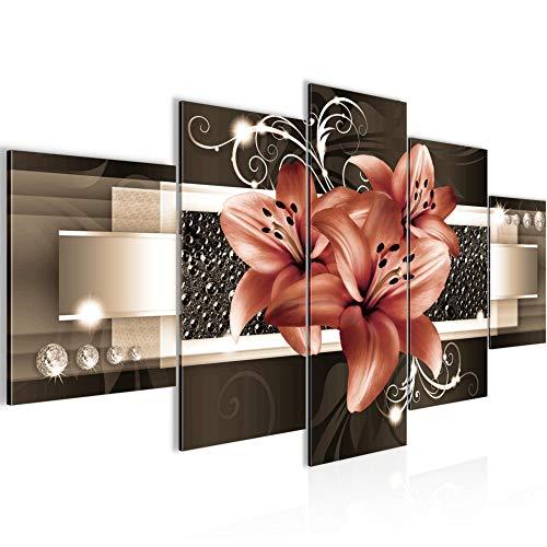 Runa Art - Bilder Blumen Lilien 200 x 100 cm 5 Teilig XXL Wanddekoration Design Beige Braun 008651b