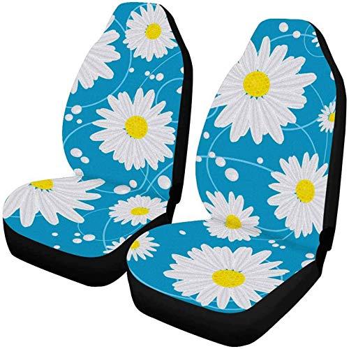 Preisvergleich Produktbild Romance-and-Beauty Gänseblümchen Blumen Schmutzfeste Autositzbezüge Vordersitzbezüge Kompletter Satz 2-Multi 04