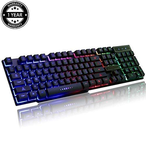 Prime Deals Multiple Colour Rainbow LED Backlit Large Size USB Wired Mechanical Feel Multimedia Gaming Keyboard, 19 Key Anti-Ghosting