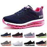 Zapatillas Running Hombre Mujer Deportivas Air Zapatos Deportivos Transpirables Sneakers Calzado Deporte Correr Gimnasio Aire Libre Tenis Asfalto Negro Blanco 833AzulRosa 35