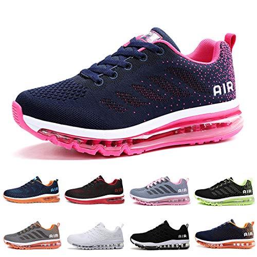 Zapatillas Running Hombre Mujer Deportivas Air Zapatos Deportivos Transpirables Sneakers Calzado Deporte Correr Gimnasio Aire Libre Tenis Asfalto Negro Blanco 833AzulRosa 37