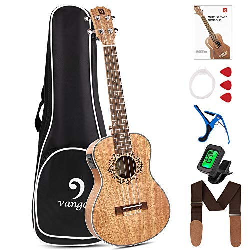 Vangoa Electric Tenor Ukulele Professional 26 Inch Mahogany Electric Acoustic Ukulele Beginners Kit for Adults Beginners with Study Guide, Padded Bag