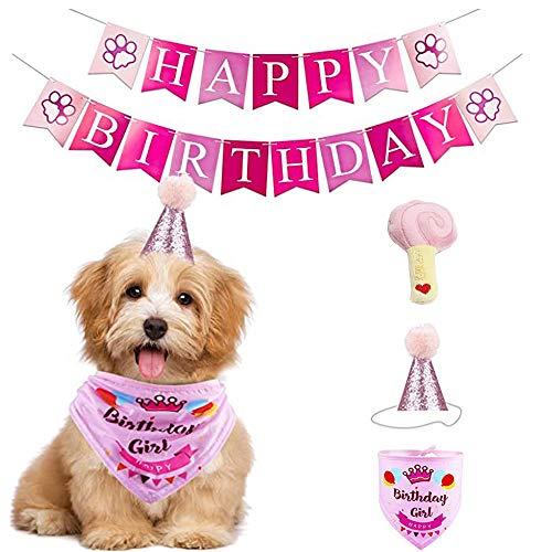 Enetos Hunde-Geburtstagsparty-Zubehör, Haustier-Geburtstagsgeschenk-Dekorationsset, Hunde-Geburtstags-Hut, Banner für Hunde-Geburtstagsparty