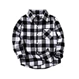 Toddler Baby Girl Boys Christmas Outfits Plaid Flannel Shirt Long Sleeve T-Shirt Tops Kid Clothes(3-4 T) Black
