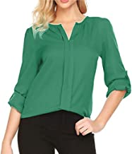 XMNDS Womens Loose Blouse Long Sleeve Button Down T Shirts Tie Front Knot Casual Tops A2