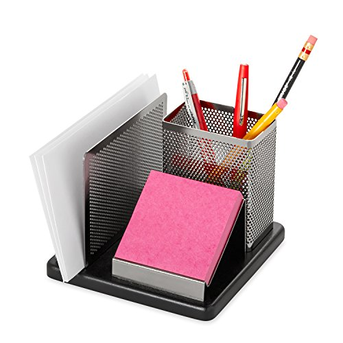 Rolodex Punched Metal and Wood Desk Organizer, Black and Gunmetal (E23552), Standard Packaging
