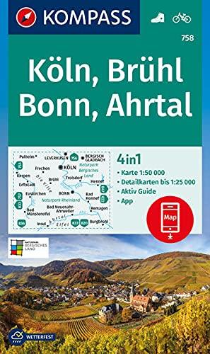 KOMPASS Wanderkarte Köln, Brühl, Bonn, Ahrtal: 4in1 Wanderkarte 1:50000 mit Aktiv Guide und Detailkarten inklusive Karte zur offline Verwendung in der ... Fahrradfahren. (KOMPASS-Wanderkarten)