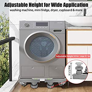 Washing Machine Stand with 4×2 Swivel Wheels + 8 Feet, Mobile Roller Base with Lockable Rubber Wheels, Adjustable Movable Mini Fridge Stand, Universal Dolly Dryer/Refrigerator Pedestal by DOUBLE ELITE