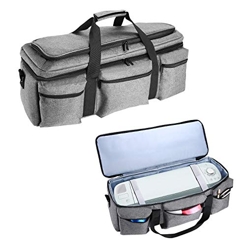 ProCase Cricut Maker and Explore Air Carrying Case, Double-Layer Lightweight Cricut Accessories Travel Tote Bag for Cricut Explore Air 2 and Silhouette Cameo 3 (Bag Only) -Grey