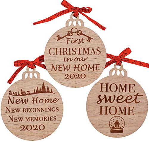 Heart's Sign First Christmas in Our New Home Ornament 2020 Set of 3   Our First Home Ornament 2020   New Home Gifts for Home   New House Gifts for Newlyweds Home   Our First Apartment Ornament 2020