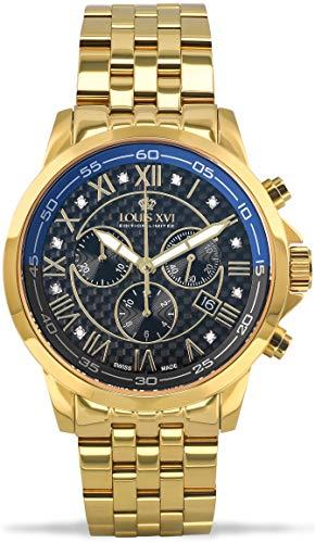 LOUIS XVI Herren-Armbanduhr Aramis Stahlband Gold Schwarz Karbon Blau echte Diamanten Chronograph Analog Quarz Edelstahl 906