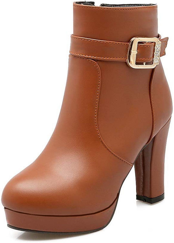 BalaMasa Womens Chunky Heels Metal Buckles Platform Urethane Boots ABL10936