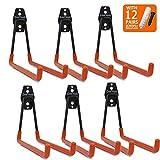 Ganchos dobles largos CoolYeah en U de acero de alta resistencia para almacenamiento y organización en garaje. Paquete de 6. 16 × 18,5 × 15,5 cm