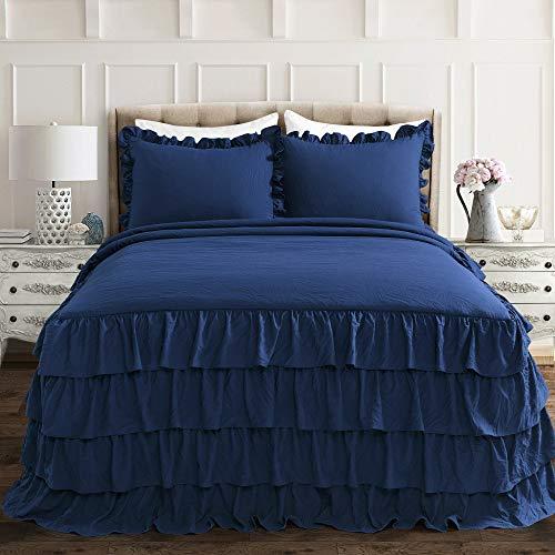 Lush Decor Allison Ruffle Skirt Polyester Bedspread, Full, Navy, 3-Pc Set