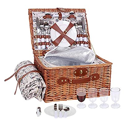 Picnic Basket for 4 Wicker Picnic Set with Insulated Cooler & Waterproof Blanket & Cutlery Service Kit Willow Picnic Hamper Set for Camping Outdoor Birthday Party