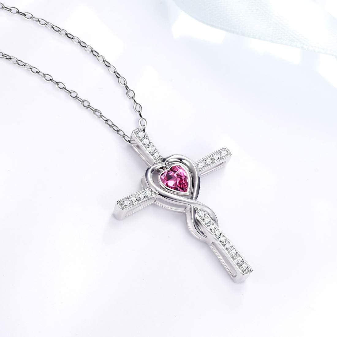 Dorella Sterling Silver Love Heart Necklace for Wife Valentines Day Birthday Gifts Pearl Peridot Blue Sapphire Pink Tourmaline Citrine Garnet Necklace Love Heart Infinity Jewelry