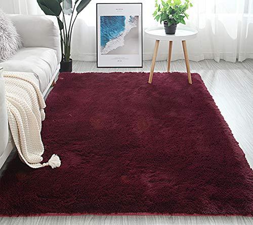 LIYINGKEJI Super Soft Modern Shag Area Rugs, 80X120 CM, Soggiorno Camera da Letto Sittingroom Tappeto Antiscivolo Tappeto Tappeto per Bambini Play Home Decorate (Vino Rosso)