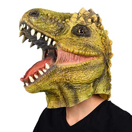 Finalshow Dinosaurier Maske Latex T-Rex Tiermaske Kopf Drachen Kostüm für Halloween Weihnachten Party Dekoration Dino Masken