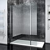ELEGANT 1100mm Frameless Wet Room <span class='highlight'>Shower</span> Screen Panel 8mm Easy Clean Glass <span class='highlight'>Walk</span> <span class='highlight'>in</span> <span class='highlight'>Shower</span> Enclosure with 300mm Return Panel and Support Bar