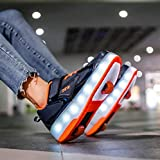 Patines con ruedas niñas y niños zapatillas de deporte luminosas LED tecnología de dos ruedas cordones de skate zapatillas de gimnasia exterior recargables por USB Zapatos con Ruedas,Blue Orange-40
