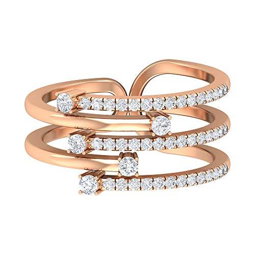 Rosec Jewels - 14 Kt Rotgold Runder Brilliantschliff Leicht Getöntes Weiß/Top Crystal (I) Diamant