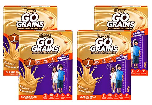 Manna Go Grains Malt | 800g (200g x 4 Packs) | Health and Nutrition Multigrain Malted Drink for Growth & Immunity. High Protein | 7 Immunity builders | 24 Vitamins and Minerals for Growth