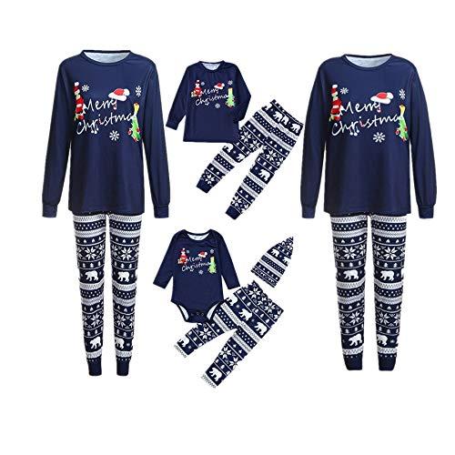 Weihnachten Familie Pyjamas Outfit Schlafanzug Nachtwäsche Damen Herren Baby Säugling Family Kleidung Zuhause Matching Set Xmas, 3PCS Cartoon Brief Spielanzug Deer Pants Hut (Dad,Medium)