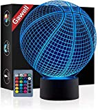 Basketball 3D Illusion Birthday Gift Lamp , Gawell 16 Colors Changing Touch Switch Xmas Decoration Night Light Remote Control Acrylic Flat & ABS Base & USB Cable Toy for Basketball Sport Fans