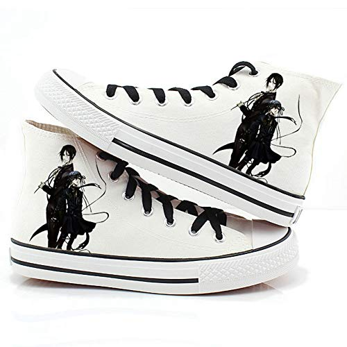 Csqw Mayordomo Negro Alto Blanco Zapatillas de Lona para Zapatillas de Deporte Unisex para niños y Adolescentes Zapatillas de cosplay-40