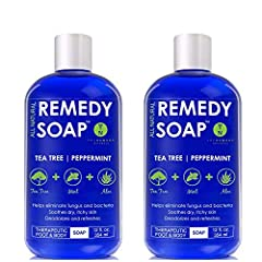 ★ REMEDY SOAP New Large 12 oz Size. Remedy Body Wash with Tea Tree Oil, Mint & Aloe Vera - Helps Wash Away Body Odor, and soothe Athlete's Foot, Candida, Ringworm, Jock Itch, and Skin Irritations. Very refreshing 100% Natural Foot and Body Wash. ★ A ...