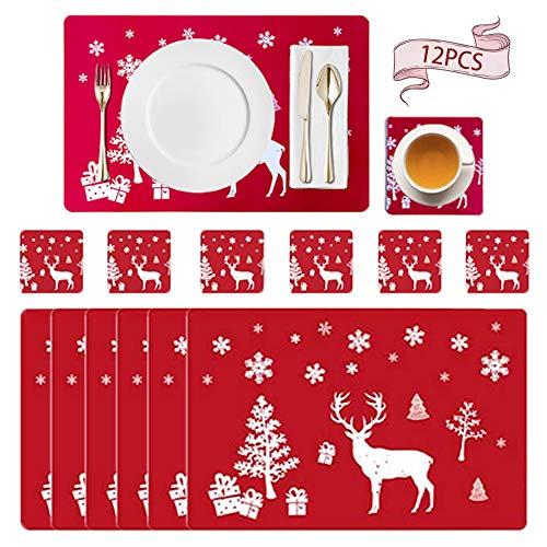 MEISHANG 12PCS Tischset Weihnachten,Platzset Weihnachten,Tischsets Waschbar,Hitzebeständig Tischsets,Tischsets,Weihnachtstisch Platzset,Tischmatten für Esstisch Weihnachten