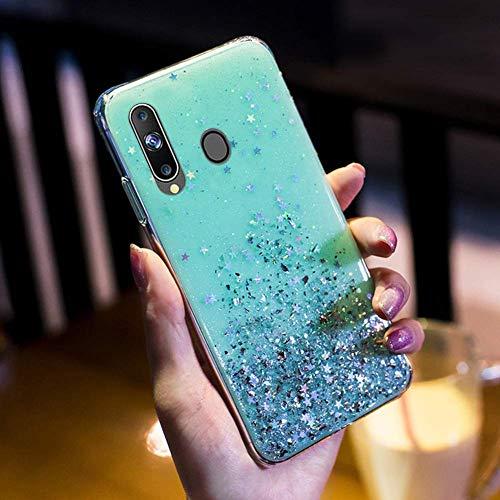 Uposao Kompatibel mit Samsung Galaxy A20S Hülle Glänzend Glitzer Strass Diamant Sterne Transparent TPU Silikon Handyhülle Weiche Dünn Durchsichtig Schutzhülle Tasche Crystal Case,Grün