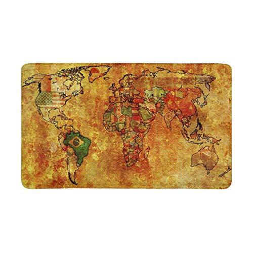 Viejo mapa político del mundo con la bandera de Brasil Felpudo antideslizante Alfombra de puerta interior y exterior Alfombra Decoración para el hogar, Alfombra Alfombra Alfombra de entrada Respaldo d