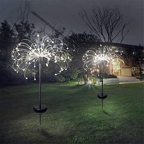 YLE Solar Feuerwerk Licht 150LED Solarleuchte Garten 50Kupferdrähte Landschaftslicht DIY Draussen Blüht Feuerwerks-Bäume für Garten Patio Rasen, Weihnachtsfest-Dekor, weißes Licht,2pcs