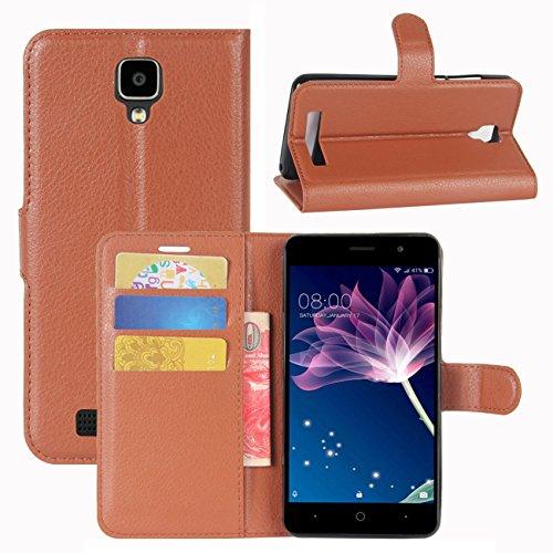 HualuBro Doogee X10 Hülle, [All Aro& Schutz] Premium PU Leder Leather Wallet HandyHülle Tasche Schutzhülle Flip Hülle Cover für Doogee X10 Smartphone (Braun)