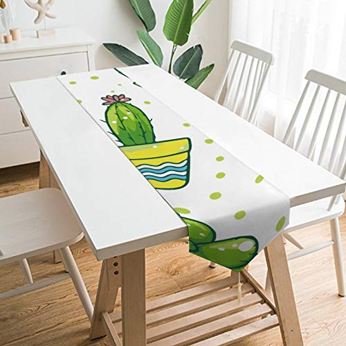 None-brands - Camino de mesa con temática de cactus para jardín, cocina, cocina, cena, fiestas de reunión familiar, decoración del hogar, decoración de casa, regalos de boda, corredores de 13 x 70