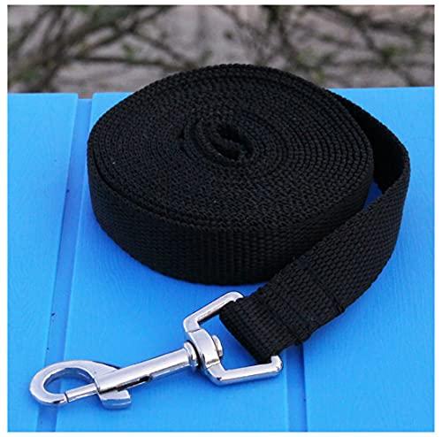 GERYUXA Correa Perro para Perros Adiestramiento, Larga Cuerda para Perros Manos Libres, Correa Resistente Fuerte para Camping Paseo Mascota Entrenamiento,Ancho 2 Cm(Size:15m,Color:Negro)