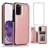 Asuwish Compatible con Samsung Galaxy S20 Plus Glaxay S20+ 5G Funda tipo cartera y protector de pantalla de vidrio templado soporte para tarjetas Gaxaly S20+5G S20plus 20S + S 20 20+ G5 oro rosa
