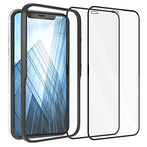 EAZY CASE 2X Panzerglas Folie mit Rand kompatibel mit iPhone XR / 11, Full-Screen Bildschirmschutz mit Installationshilfe, Schutzglas 5D, 9H, Anti-Kratzer, Selbstklebende Glasfolie