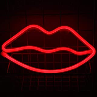 AOLVO Lip Shaped Neon Night Decorative LED Red Neon Light Lamp Wall Decor Home Party Decoration Kids Room Living Room Chri...