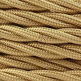 AMARCORDS AX160. Cable electrico trenzado decorativo en tela color dorado. 2 X 0,75mm. El precio indicado es por cada metro lineal.