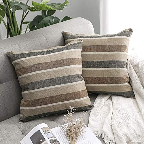 MIULEE Faux Linen Stripe Square Throw Pillow Case Cushion Cover Home for Sofa Chair Couch/Bedroom Decorative Pillowcase 16x16 Inch 40x40cm,2 Pieces Coffee